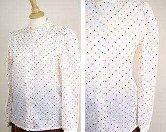 Vintage 70s Blouse, Bobbie Brooks Shirt, Peter Pan Collar Blouse, Size 10, White Pokadot Blouse, Work Attire,Pink Polyester Blouse