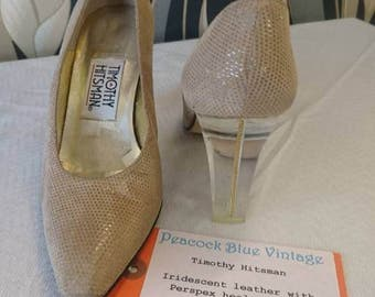 Timothy Hitsman Designer shoes -Sparkly leather + Clear Perspex Heels! Size 4