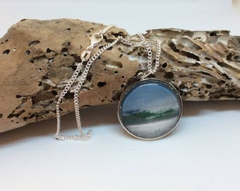 Wave photograph necklace