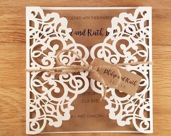 Rustic Laser Cut Gatefold Wedding Invitations Kraft Twine Invite *sample*