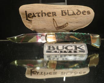 "Buck 110 Knife Custom ""PUMA"", Ghostown Custom Knives 431-17. Folding Hunter"
