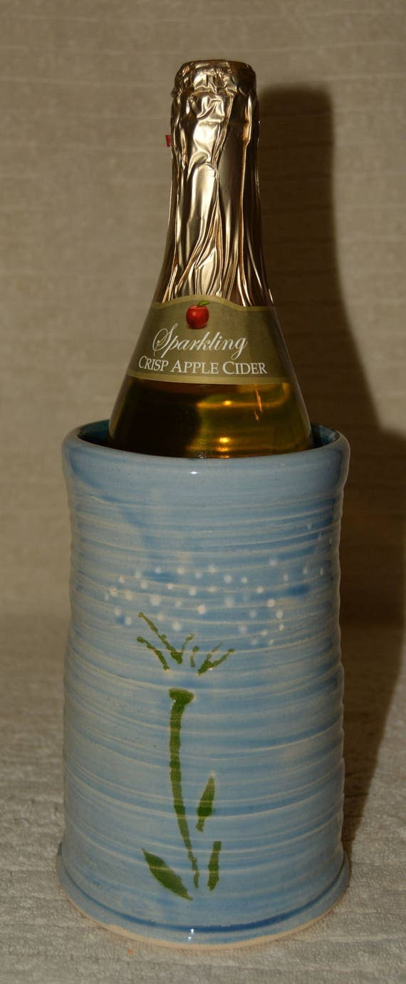 Wine Chiller, Dandelions, Blue, Sky Blue, Stoneware, Ceramic, Kitchen, Home Decor, Decorative, Utensil Holder,