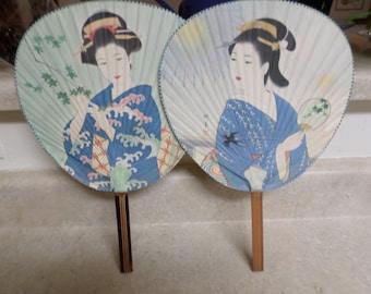 Vintage Japanese Geisha Paper Fans