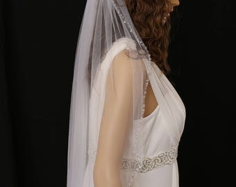 Bridal Veil with silver Sequin and Beaded Edge
