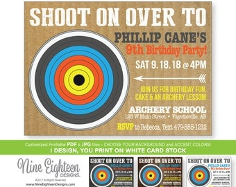Archery Party INVITATION. Personalized Printable PDF & JPG, Choose your background.
