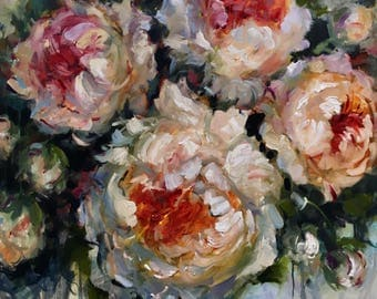 Finding Joy,  30x30 inches, original, acrylic, painting, wall, decor, art, krista eaton, peony, peonies
