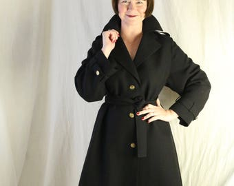 Black pure wool Spy Chic trench coat with gold buttons 60s
