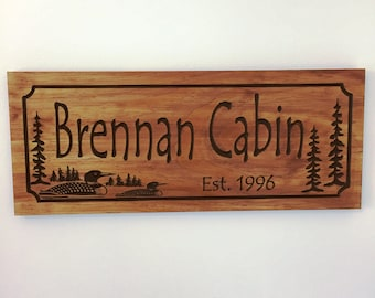 Custom Cabin Signs Personalized Wooden Signs for your Ranch Cabin Lake house Cabin carved sign with Loon ducks pine trees Unique Gifts
