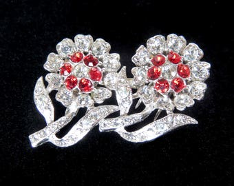 CORO DUETTE Crystal Clear & Ruby Red Rhinestone Double Flower Brooch/Dress Clip - Signed