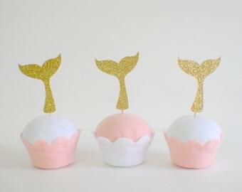 Mermaid cupcake topper, mermaid tail cupcake topper, mermaid party, mermaid decoration (12 toppers)