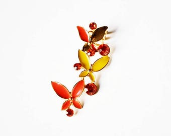 Orange and Yellow Butterfly Gold Ear Cuff Climber - 1 PC