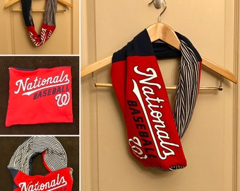 Infinity Scarf - Upcycled T-Shirt Infinity Scarf, T-Shirt Scarf - Washington Nationals Scarf