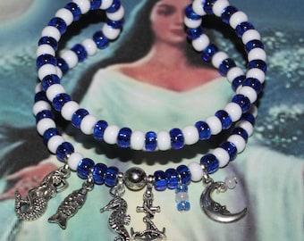 Yemaya Yemonja Orisha adjustable charm bracelet