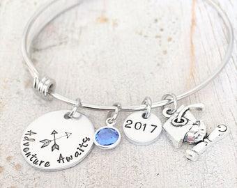 Personalized Graduation Bracelet - Inspirational Graduation Jewelry - College Grad Gift - High School Grad Gift - Class of 2017 Senior Gift