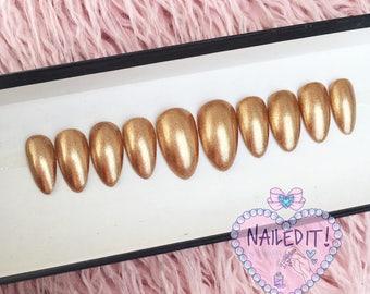 NAILED IT! Hand Painted False Nails - Metallic Rose Gold
