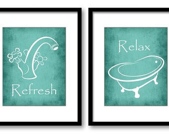 bathroom wall decorations. Blue Turquoise Teal Bathroom Decor Print Art Prints Set  of 2 Refresh Relax Home bathroom decor Etsy