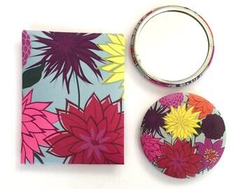 Pocket Mirror   Dahlia   Contemporary floral design   56mm Alison Bick