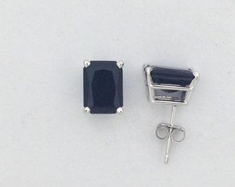 Black Onyx Stud Earrings Solid 14kt White Gold