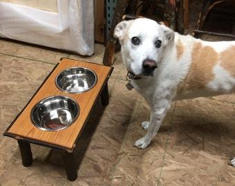 Rustic Hickory Dog Feeder