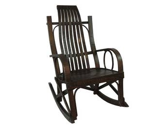 Solid Barnwood Amish Bentwood Rocking Chair