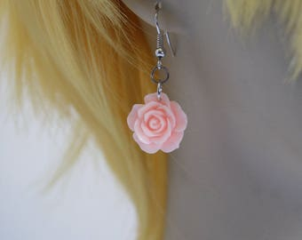 Pink Rose Resin Flower Earrings with Nickel Free Fish hooks