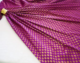 Purple and gold art silk brocade fabric