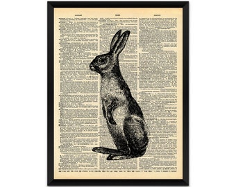 Picture, print, hare on dictionary page wall art, illustration, poster,wall decor, A4, A3