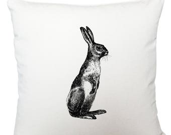 Standing hare cushion cover, scatter cushion, throw cushion, white cushion