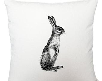 Cushions/ cushion cover/ scatter cushions/ throw cushions/ white cushion/ standing hare cushion cover
