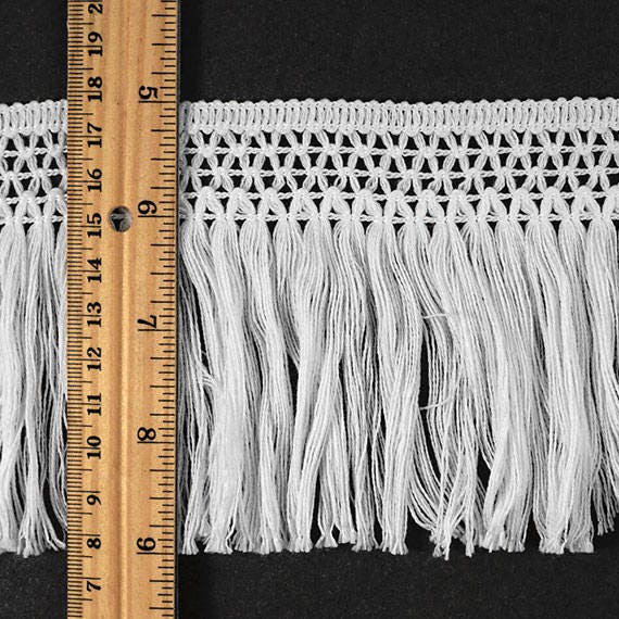 4 Quot Vintage Knotted Cotton Fringe By 1 Yard Black Ivory