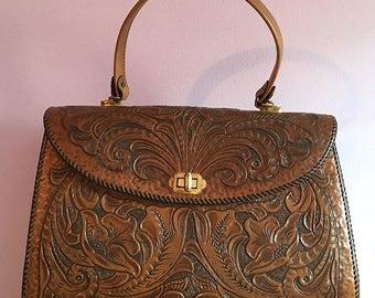 Tooled leather handbag - larger size