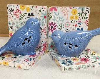 Bird Lovers Blue Birds of Happiness Hand-crafted bookends. Bright cheerful flower background