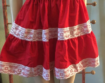 Cinco De Mayo Red Mexican Mini skirt with pockets/ size small adult / large girls
