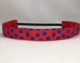 No Slip Headband; EmBands - Non-Slip Red Headband, Red and Blue Dots Running Headband; Workout Headband, Soccer Headband, Girls Headband