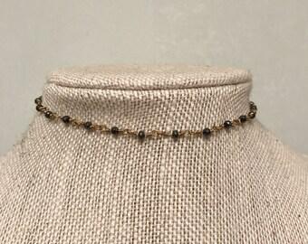 Gunmetal/Gold Rosary Chain Choker • Layering Necklace • Simple Choker Necklace • Chain Choker •
