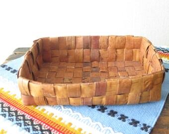 Vintage Swedish Birch Bark Basket Tray Woven Rectangular Handmade Decor Scandinavian Braided Rustic Decor @224-2