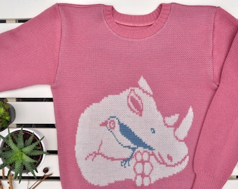 "Pink sweater with rhino and bird ""Rhino's dream"""