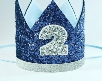 Birthday Crown    Navy and Silver Birthday    Blue Crown    Birthday    First Birthday    Baby Crown    Birthday Boy    2nd Birthday