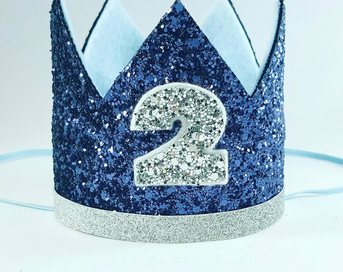 Birthday Crown || Navy and Silver Birthday || Blue Crown || Birthday || First Birthday || Baby Crown || Birthday Boy || 2nd Birthday