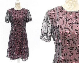 90s Vintage Dress • Black Velvet Gothic Dress • Floral Skater Dress • Sheer Tunic Mesh Dress • Red Formal Dinner Dress With Sleeves. M