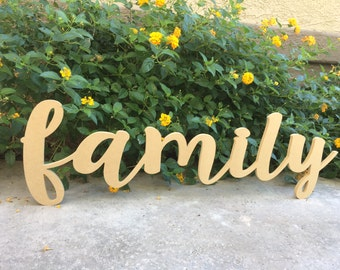 Family CNC Wooden Word Cut-Out Wood Letters Cut Out