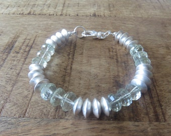 Beautiful bracelet made from Green Amethyst semi precious, high quality stones with Sterling Silver discs, Sterling Silver hook clasp