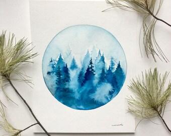 Blue Pine Scene - Original Watercolor Painting