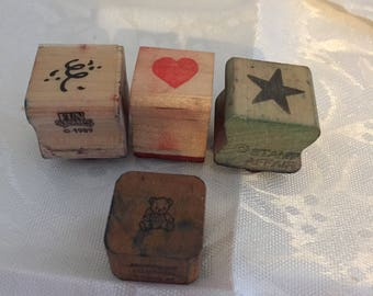 D041 Heart Star Confetti Bear Rubber Stamps