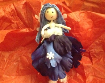 "Handmade Fairy- ""Winter fairy with fuzzy boots"""