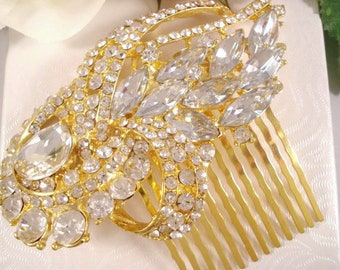 Gold Rhinestone Wedding Hair Comb Jeweled Hair Piece
