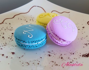 Handmade Fake Macarons with Initial Wedding Centrepieces  Wedding Display Set of 6 Faux Macaron Wedding Favours