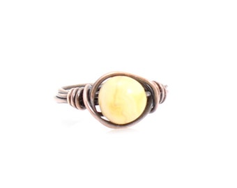 Bohemian Wire Wrapped Ring - Crazy Lace Agate, Copper with Natural Gemstone, Choose Size