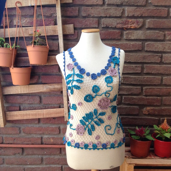 Lace tank top, sleeveless shirt, crochet lace cover, beachwear cover, resort wear, crochet tank top, cruise wear, luxury crochet blouse