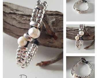 beaded leather Bracelet with Pearls